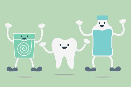 gargle: dental cartoon vector, teeth best friend Illustration