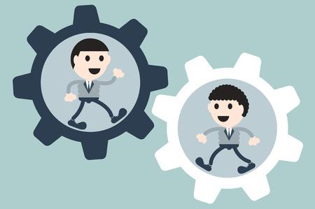 teamwork cartoon: business cartoon vector, two businessman in cogwheel - teamwork concept