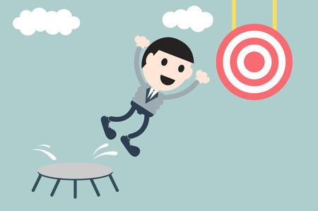 plunge: business cartoon vector, businessman jump to target - success concept Illustration