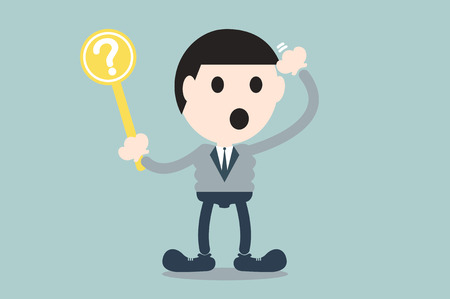 confused businessman: business cartoon vector, businessman hold question mark plate for confusion