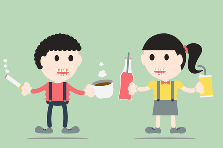 soft drink: dental cartoon vector, boy and girl are decayed tooth and tartar by soft drink, coffee and cigarette