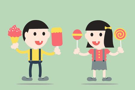 dientes sucios: dental vector de la historieta, ni�o y ni�a se decayeron diente por los dulces y helados Vectores