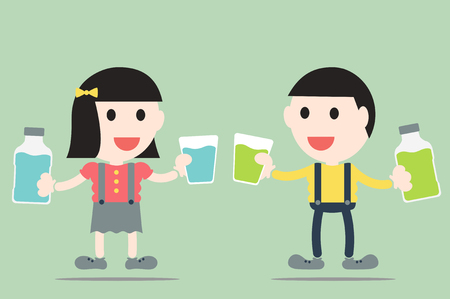 mouthwash: dental cartoon vector, boy and girl are rinse them mouth by mouthwash Illustration