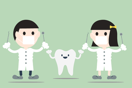 dental cartoon vector, dentist with happy teeth