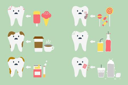 limpieza: vector de la historieta dental, un conjunto de problemas de dientes