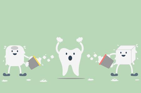 aching: dental cartoon vector, hypersensitive teeth from ice water