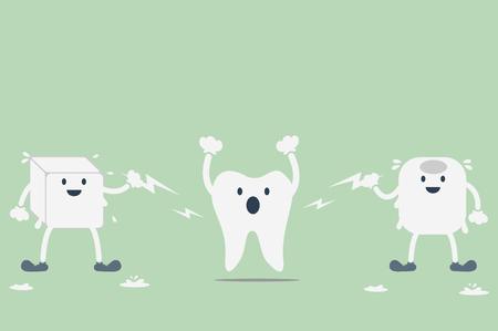 dientes con caries: vector de la historieta dental, dientes hipersensibles de agua helada