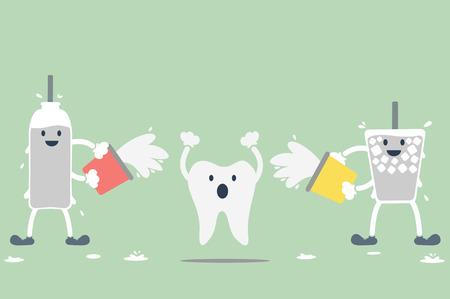 dientes con caries: vector de la historieta dental, dientes hipersensibles de agua fr�a