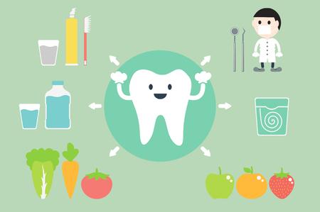 dental cartoon vector, set of teeth best friend Stock Illustratie