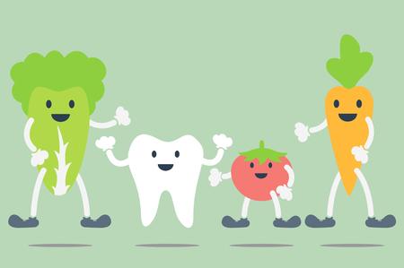 dental cartoon vector, best friend - teeth and vegetable