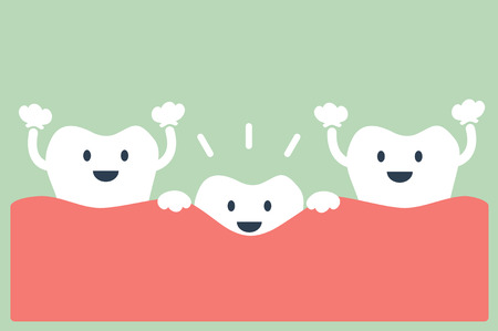 dental cartoon vector, teeth grow