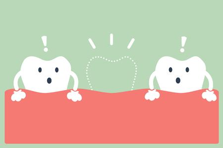 dentystycznego Wektor kreskówki, połamane zęby