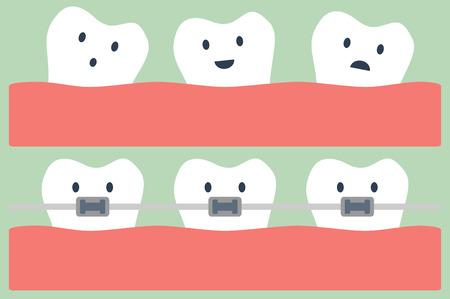 dental cartoon vector, teeth orthodontics