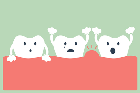 dental cartoon vector, tooth periodontal disease  イラスト・ベクター素材