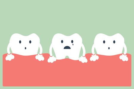 dental cartoon vector, tooth periodontal disease Stock Illustratie