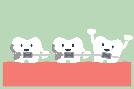 orthodontics: vector de la historieta dental, ortodoncia dientes