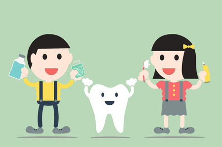 dentist cartoon: dental cartoon vector, boy and girl with healthy teeth