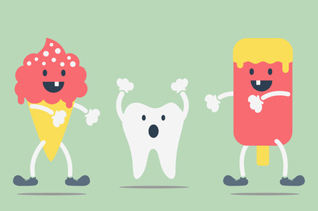 dirty teeth: dental cartoon vector, teeth problem from ice cream Illustration