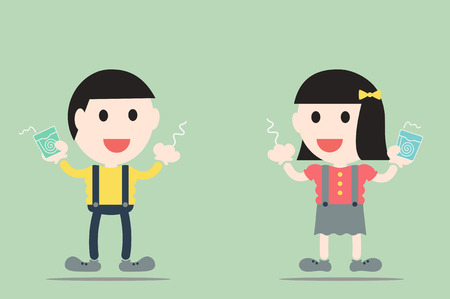 cleaning teeth: dental cartoon vector, boy and girl are cleaning teeth by dental floss Illustration