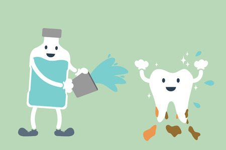 dental cartoon vector, teeth cleaning by mouthwash