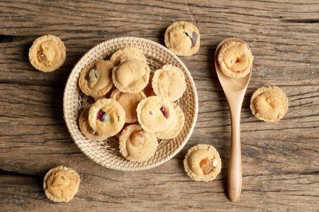 wicker basket: puff pastry in wicker basket on table