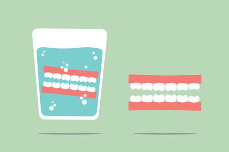 Zahn Cartoon-Vektor, Prothese im Glas