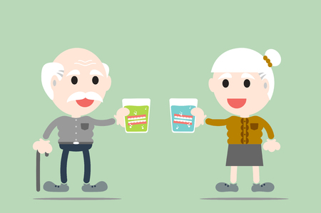 grandparent: dental cartoon vector, grandparent are holding denture in glass