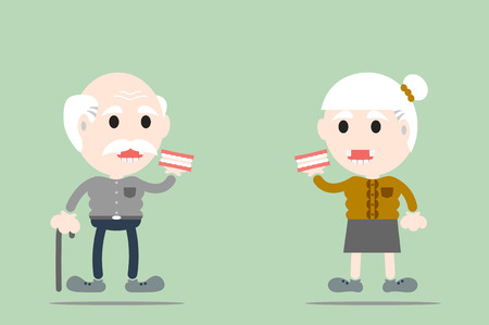 dental cartoon vector, senior man and senior woman are holding denture