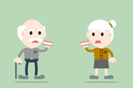 vecteur de bande dessinée dentaire, homme âgé et femme âgée tiennent prothèse Illustration