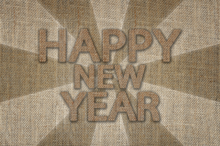 sackcloth: Happy New Year background, Text design from sackcloth
