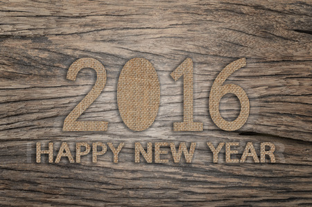 sackcloth: Happy New Year 2016, Text design from sackcloth on wood background