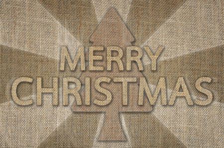 sackcloth: Merry Christmas lettering background, Text design from sackcloth