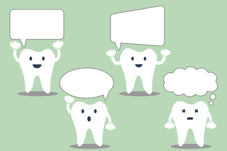 comunicacion oral: tooth cartoon, set of teeth with various speech bubble. talking teeth. place for your text.