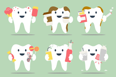 decayed: dental cartoon, unhealthy teeth set - dental collection for design Illustration