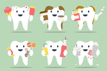 dental cartoon, unhealthy teeth set - dental collection for design Illustration