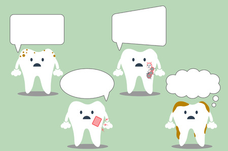 comunicacion oral: vector de la historieta del diente, un conjunto de dientes con diferentes bocadillo. hablando dientes. lugar para el texto. Vectores