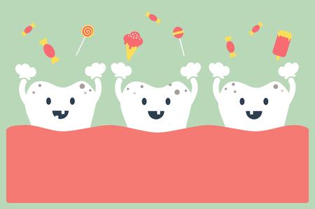 dientes con caries: dibujos animados dentales, dientes y dulces - diente cariado