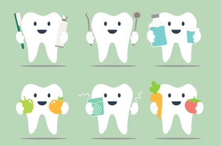 치과 만화, 건강한 치아 세트 - 디자인 치과 컬렉션