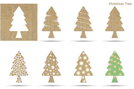 sackcloth: set of christmas tree from sackcloth isolated on white Stock Photo
