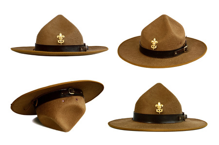 stockman: set of brown brim hat (hat of scout) isolated on white