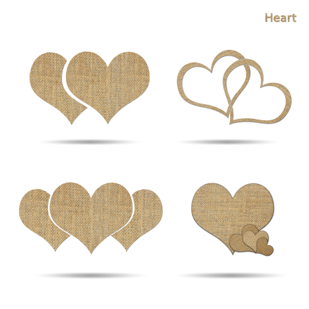 sackcloth: set of couple heart from sackcloth isolated on white