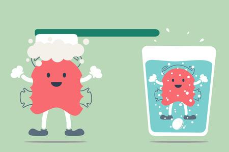 dental cartoon , orthodontic teeth retainer brace bracket cleaning Illustration