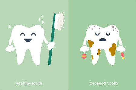 decayed: dental cartoon, healthy and decayed tooth
