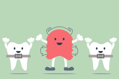 dental cartoon, orthodontic teeth retainer brace bracket and orthodontics teeth Stock Illustratie