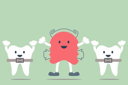 dental cartoon, orthodontic teeth retainer brace bracket and orthodontics teeth Illustration
