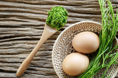 egg and acacia pennata prepare for omelet cooking, Thai cuisine - calls that cha-om omelet