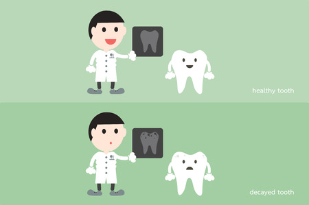 dientes con caries: tooth cartoon vector, male dentist hold dental x-ray film with healthy and unhealthy teeth Vectores