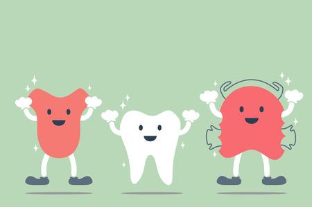 happy dental best friend cartoon vector - tooth, tongue and orthodontic teeth retainer braces bracket