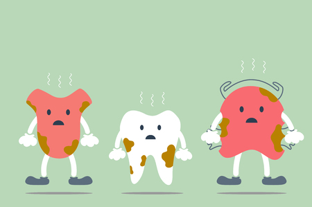dirty dental best friend cartoon vector - tooth, tongue and orthodontic teeth retainer braces bracket Illustration
