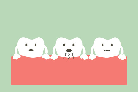 belch: dental cartoon vector, tooth is halitosis